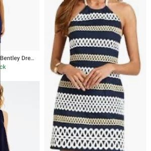 Lilly Pulitzer Navy, Gold ans White Halter Dress